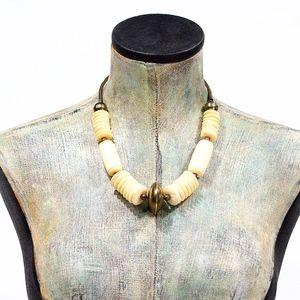 VTG 70's Chunky Natural Bone & Brass Necklace